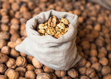 Walnuts kernels in the sack on the pile of walnuts Royalty Free Stock Photos