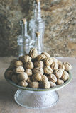 Walnuts with kitchen background Stock Image