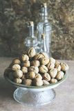 Walnuts with kitchen background Royalty Free Stock Image