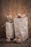 Walnuts in a kraft paper bag Stock Photography
