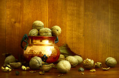 Walnuts. A large pile, large size Royalty Free Stock Photography