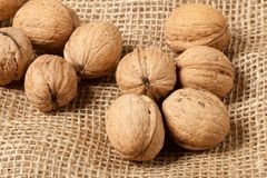 Walnuts laying on jute Royalty Free Stock Photos