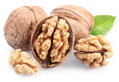 Walnuts with leaf. Stock Photography