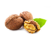 Walnuts with leaf isolated Stock Photos