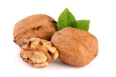 Walnuts with leaf isolated on white background.  Stock Photography