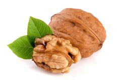 Walnuts with leaf isolated on white background.  Stock Image