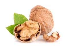 Walnuts with leaf isolated on white background.  Royalty Free Stock Image