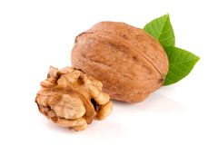 Walnuts with leaf isolated on white background.  Stock Images