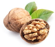 Walnuts with leaf. Royalty Free Stock Image