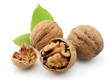 Walnuts with leafs Royalty Free Stock Photos