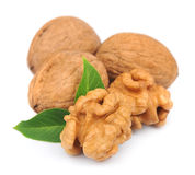Walnuts with leafs Stock Photos