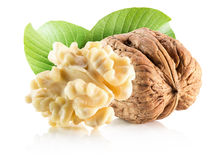 Walnuts with leaves isolated on the white background.  Royalty Free Stock Photography