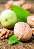 Walnuts with leaves Stock Photography