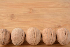 Walnuts lined up Royalty Free Stock Photo