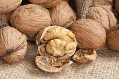 Walnuts on linen background, Stock Photo