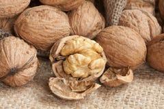 Walnuts on linen background, Stock Photo