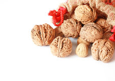 Walnuts with linen bag Stock Photo