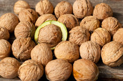 Walnuts. Lying on the table Royalty Free Stock Image