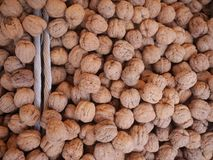 Walnuts market organic Royalty Free Stock Photos