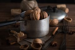 Walnuts in a metal bowl, dark background. Stock Image