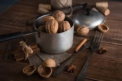 Walnuts in a metal bowl, dark background. Stock Photos