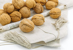 Walnuts on a napkin Royalty Free Stock Images