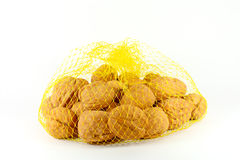 Walnuts in a net Royalty Free Stock Images