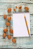 Walnuts and notebook Royalty Free Stock Photos
