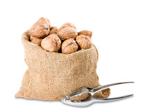 Walnuts With Nutcracker Stock Photo