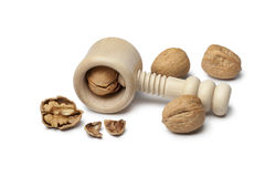 Walnuts and nutcracker Royalty Free Stock Images