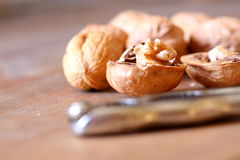 Walnuts with nutcracker B Stock Photography