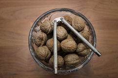 Walnuts and Nutcracker in Crystal Jar Royalty Free Stock Image