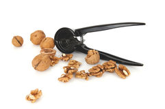 Walnuts with a nutcracker on a white background Stock Photo
