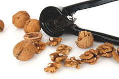 Walnuts with a nutcracker on a white background Royalty Free Stock Image
