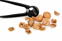 Walnuts with a nutcracker on a white background Stock Image