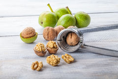 Walnuts and nutcracker on white table,. Walnuts and nutcracker on white wooden table Royalty Free Stock Photography