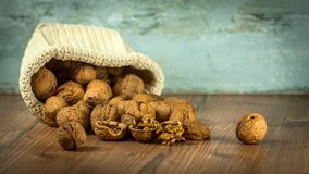 Walnuts, Nuts, Dump, Spill, Bag Royalty Free Stock Photos