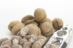 Walnuts, nuts and nutcracker royalty free stock images