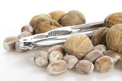 Walnuts, nuts and nutcracker Royalty Free Stock Photos