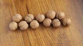 Walnuts on the table royalty free stock images