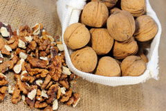 The walnuts nuts vitamins for the brain. The walnuts in shell and peeled kernels stock photography