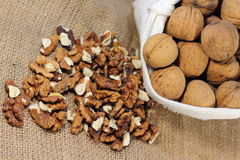 The walnuts nuts vitamins for the brain. The walnuts in shell and peeled kernels royalty free stock images
