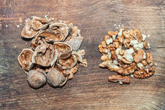 Walnuts and nutshells Stock Photography