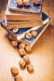 Walnuts on old book. Some dry walnuts on old retro book in studio Royalty Free Stock Images