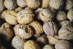 Walnuts, one with crack. Walnuts are sold at the Bazar in Kashgar (Kashi), Xinjiang Province, China royalty free stock image