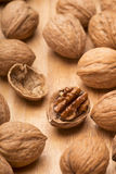 Walnuts with open nut Royalty Free Stock Photos