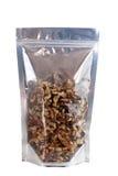 Walnuts in packaging foil zip lock bag Stock Image