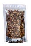 Walnuts in packaging foil zip lock bag Stock Images