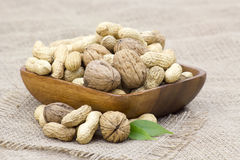 Walnuts and peanuts Royalty Free Stock Photography