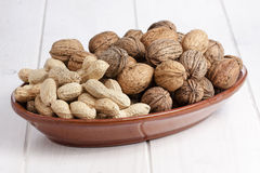Walnuts Peanuts Bunch Bowl White Table Stock Photography